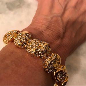 Alexis Bittar gold and rhinestone bracelet